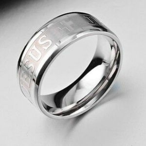 Jesus Cross Christian Silver Stainless Steel Ring